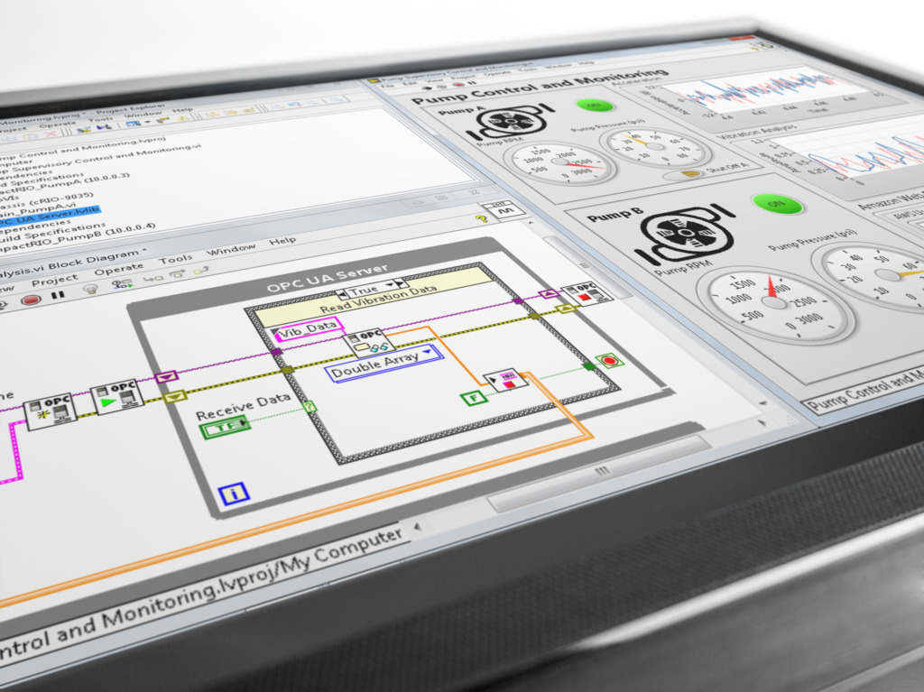NI LabVIEW Programmierer bedient Monitor