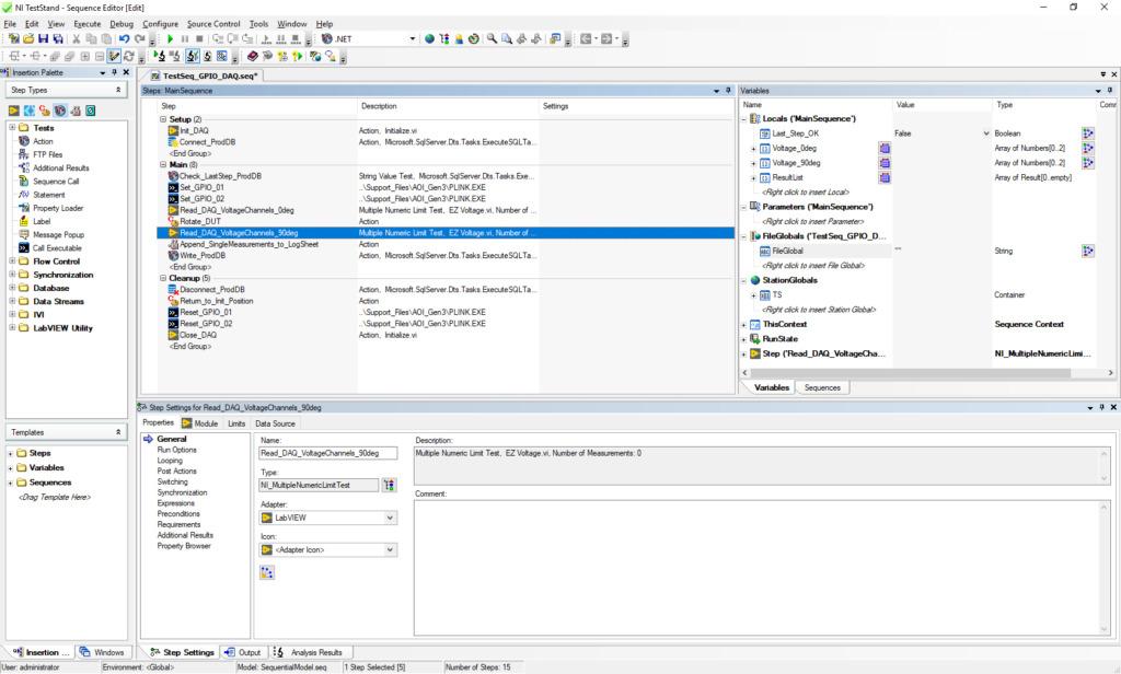TestStand Developer bindet verschiedene Adapter ein