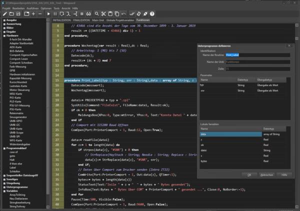 WinGuard Testsoftware: Screenshot Entwicklungsumgebung