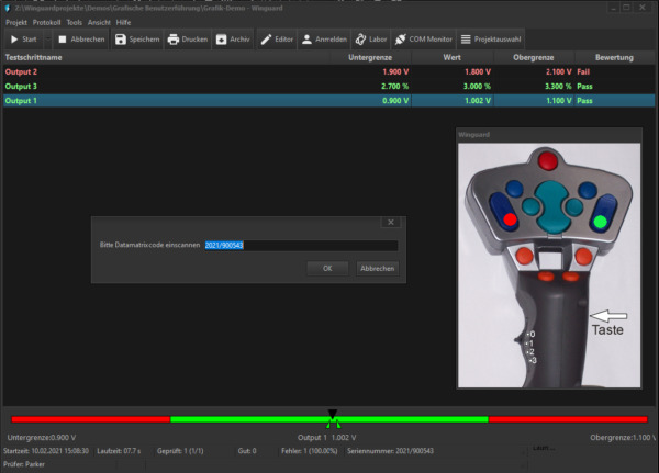 WinGuard Testsoftware: Screenshot Testumgebung