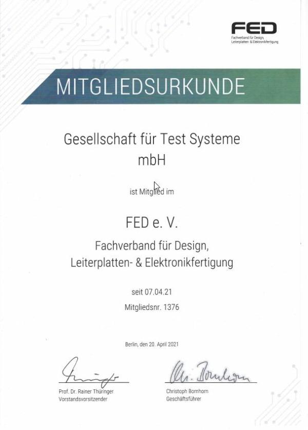 Mitgliedsurkunde Fachverband Leiterplatten Fertigung und Design