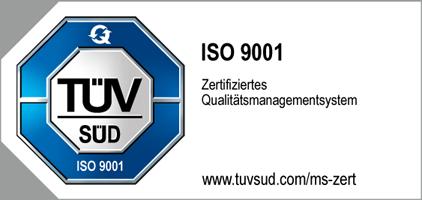 Qualitätsmanagement-Siegel des TÜV Süd nach ISO 9001